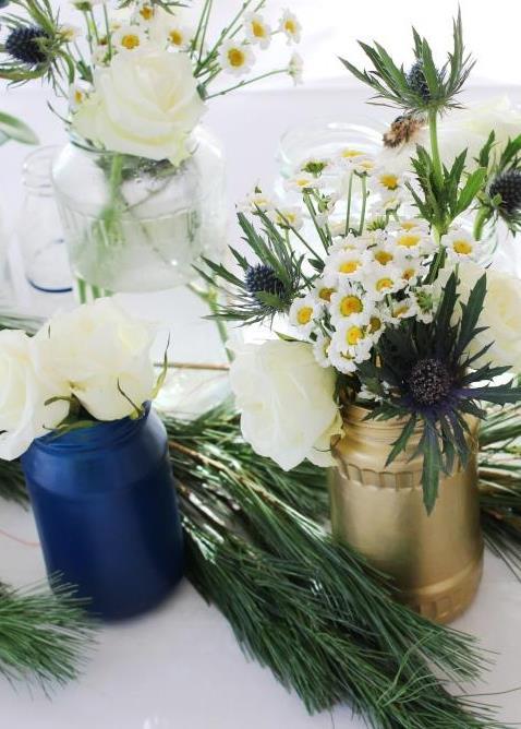 Kuechenkraenzchen Blumendeko Winterhochzeit
