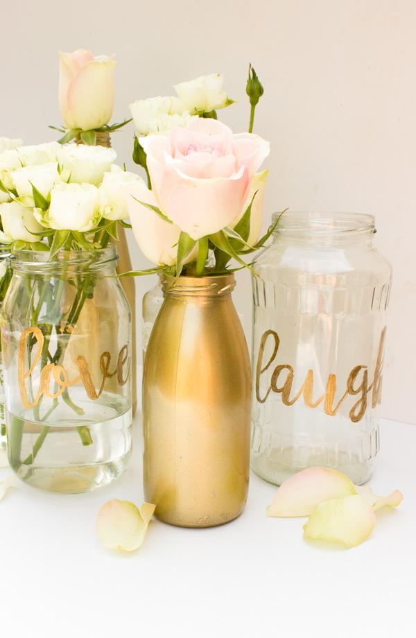 Küchenkränzchen DIY Vasen mit gold