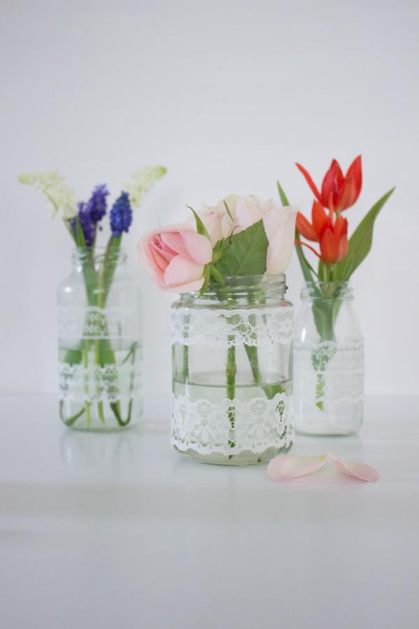 Küchenkränzchen - DIY Vase mit Spitze